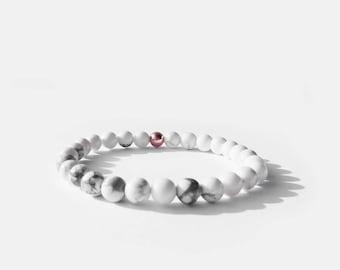 White Howlite Bead Bracelet 6mm