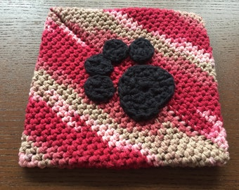 PAWt Holder - Hot Pad with Black Paw Print - Crochet pot holder, red pink and tan
