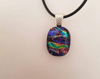 Pink and green dichroic glass pendant