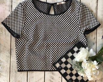 Checkered Black and White Crop Top