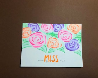 Miss You | Greeting Card | Handmade Card | Blank Card