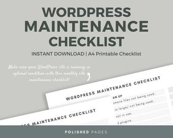 WordPress Maintenance Checklist, Website Checklist, Blog Maintenance
