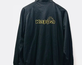 FREE SHIPPING!!! Vintage 90's Kappa Jersey Jacket Embloidery Big Logo Black Colour Extra Large Size