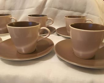 Poole Pottery - 5 x Coffee/Tea Cups and Saucers