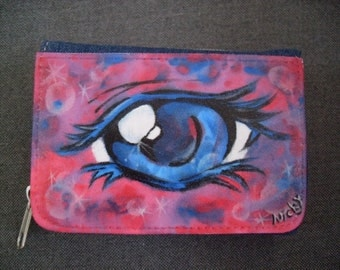 Manga, eye, painted purse, purse, wallet, Portmonaie, jeans, pink. Blue,