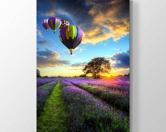 Flying Balloons and Lavenders Printing On Canvas, Wall Art, Canvas Prints, Room Deco, Beautiful View, Wonder