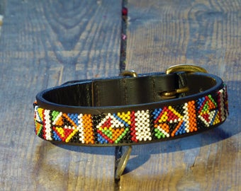 Masai Warrior Beaded Dog Collar (Size: S)