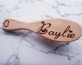 Personalised Hair Brush Wooden Pyrography Birthday Christening Gift New Baby Stocking Name Wedding Bristles Paddle Brush