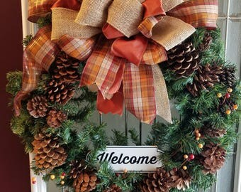 "24"" Beautiful Evergreen and  pine cone wreath"