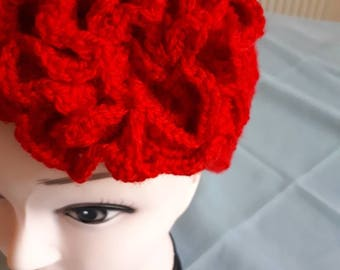 Red double knitted crochet flowered  baggy beanie hat