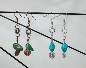 Bicycle Chain Egytian Twist and Stone Earrings
