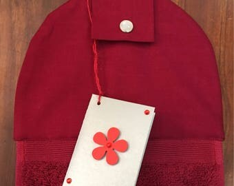 Hanging hand towel - deep red towel and top