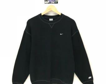 Rare!!! Vintage Nike Sweatshirt Small Logo Embroidery Sweatshirt Pullover Jumper Sweater Crew Neck Size M