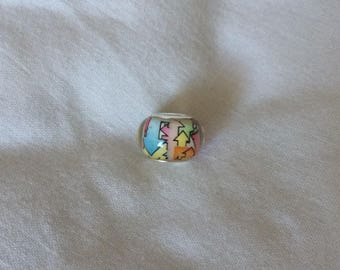 Multicoloured patterned bead to fit charm bracelet