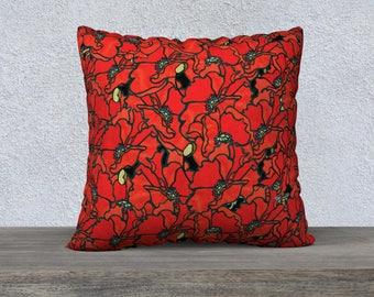 "Pillow Case - Poppies 22"" x 22"""