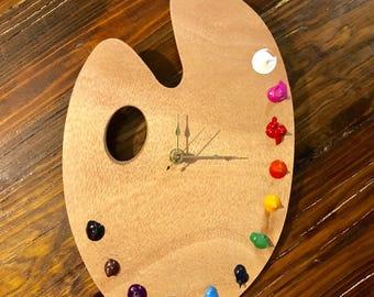 """Artist Palette Wooden Clock- 7x12"""" Wooden Artist Palette Clock- Home Decor- Artist Clock"""