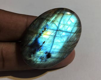 85.9 Cts 100% Natural Medagascar's Labradorite Cabochon Blue Fire Polished Cabochon Healing Quartz Oval Shape 43x31x8 mm N#691-7