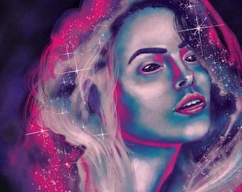 Nebula lady - digital art 8 x 10 in printable