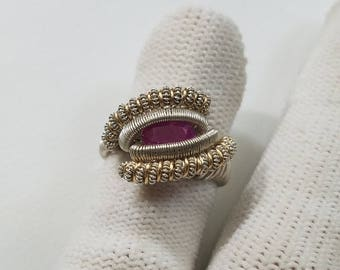 Wire Wrapped Ruby Ring Size 3.5