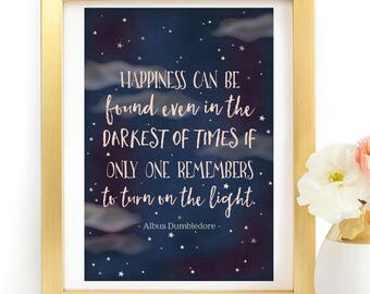 Harry Potter Dumbledore Happiness can be found Magical Quote Poster Typography Art Print