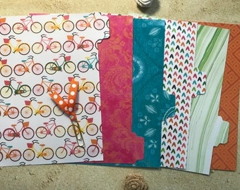 Planner divider set with planner clip. Six (6) A5 tabbed and laminated