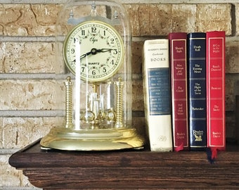 Vintage Elgin Anniversary Mantle Clock with Revolving Pendulum / Antique Clock by Elgin / Vintage Gold Mantle Clock