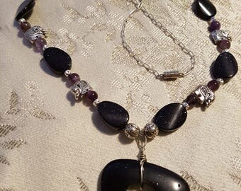 Blue goldstone, amethyst and silver stone necklace with elephant bead accents