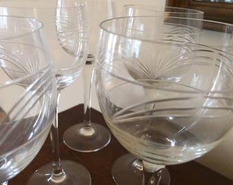6 vintage French wine glasses