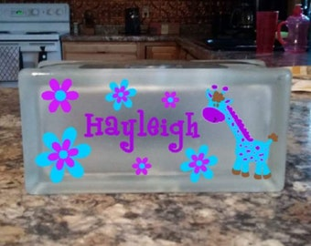 Giraffe Glass Block Nightlight, Children's Night Light, Personalized Nightlight