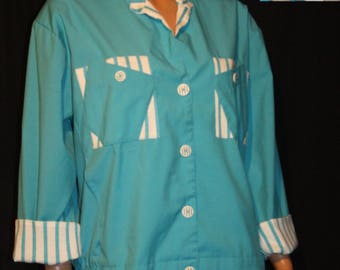 Vintage 1980s MATCHES Turquoise/White Avante Garde Button Down Unlined Spring Jacket~L