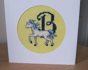 Cross Stitched Card with Unicorn