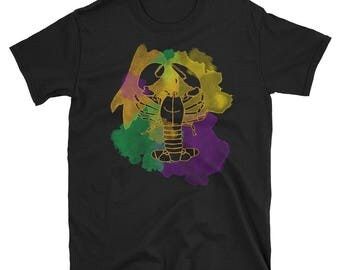Mardi Gras Crawfish Tshirt Water Color for Women and Men