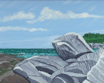 Rocks at Sachuest Point at Newport, R.I. by William Clarke