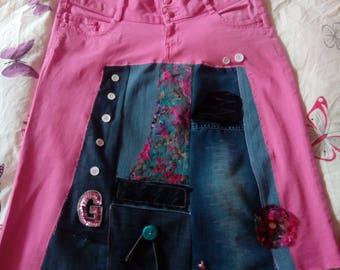 Patchwork jeans skirt