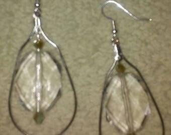 Oblong hoop clear earrings