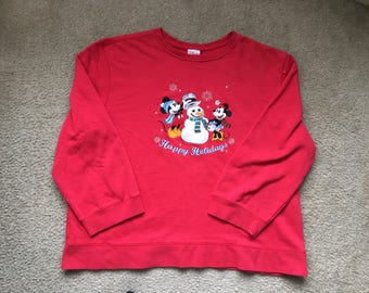 Women's Vintage 90s Disney Mickey & Minnie Mouse Happy Holidays Sweatshirt Size 2Xl
