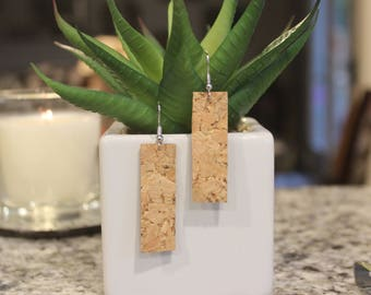 Gold speckled natural cork bar earrings