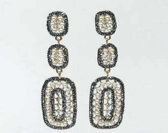 Dido pearl pave earrings