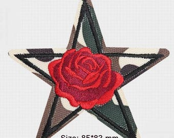 Iron or Sewing on patch,Camouflage Rose Embroidery Patch,Flower Embroidery Patch,Camouflage Rose Applique,hand embroidered.