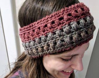 Red and grey crocheted headband ear warmer