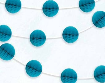 Teal Honeycombe Ball Garland 7ft