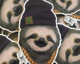 """Glossy coated JAM Sloth stickers 3"""" x 3.9"""""""
