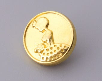 fashion button beautiful lady embossed button 10pcs 12mm gold metal round vintage shank button
