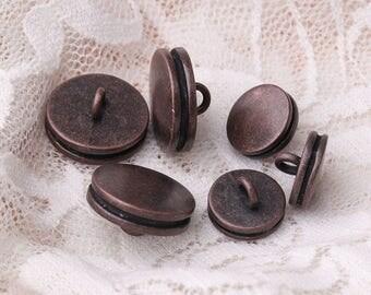 double-deck button copper metal button shank button 10pcs 2 sizes 15/11mm
