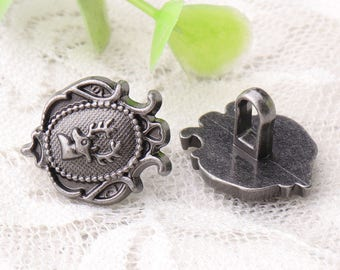 deer buttons 10pcs 17*14*11.5mm fish shaped buttons light black buttons embossed vintage buttons metal buttons