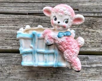 Vintage 60s Kitschy Lamb / Sheep Baby Room Planter