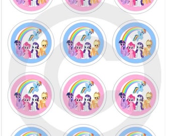 12 mixed my little pony cupcake toppers premium wafer/icing edible pre cut