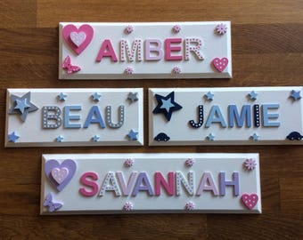 Personalised bedroom door plaque/sign. Ideal for wall door or toy box. Great new born gift