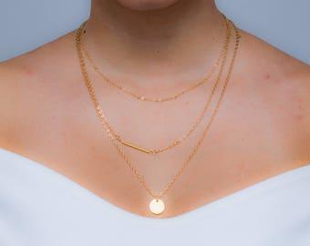 Layered Three Chain Pendant Necklace - Modhvadia Jewellery