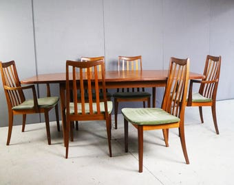 Superb 1970's G Plan dining set with extending table. 2 carver chairs and 4 dining chairs